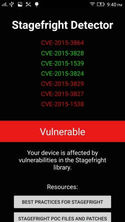 Vulnerable to CVE-2015-3864